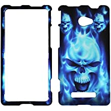 New Blue Skull HTC Windows Phone 8X / Accord / Zenith 6990 AT&T , T-Mobile , Verizon Hard Case Snap-on Hard Shell Protector Cover Phone Hard Case Case Cover Faceplates