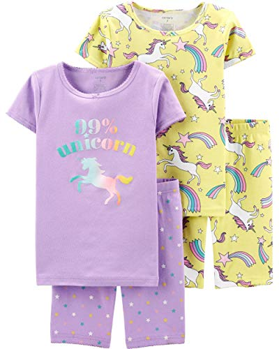 Carter's Girls' 4-Piece Snug Fit Cotton PJS (7, Purple/Neon Yellow/Unicorn) -