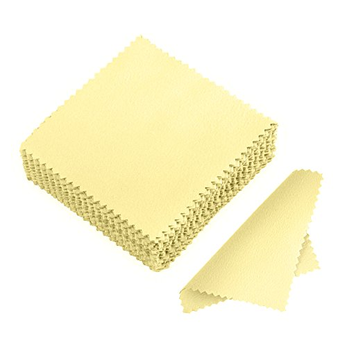 JUANYA 50pcs Jewelry Cleaning Cloth Polishing Cloth for Sterling Silver Gold Platinum (Yellow)