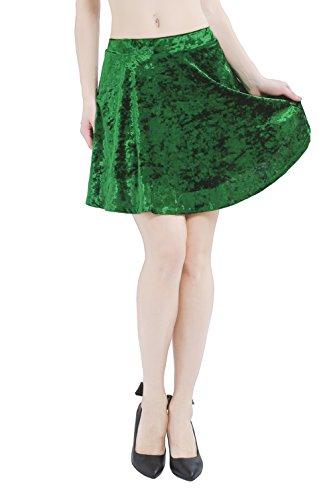 Deeyomi Women's Vintage Green Velvet Skirt With Back Zip Stretchy Flared Skater Mini Skirt 2XL