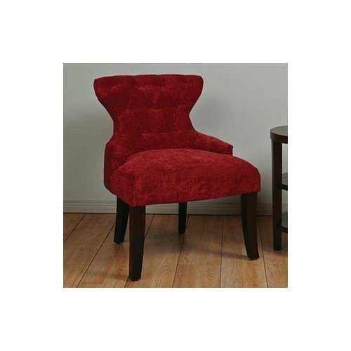 Accent Chair Fabric Upholstery and Wood Side Chair Furniture Includes Scented Candle Tart (velvet grenadine)
