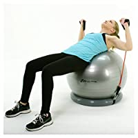 SoAlpha Premium Exercise Ball with 15LB Resistance Bands, Stability Base, Pump, 65 cm Fitness Ball, Supports up to 600LBS, Stability Ball with Gym Quality Resistance Bands, Complete Home Gym Bundle from SoAlpha