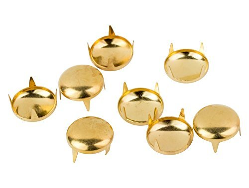 50 x 12mm Gold Studs for Fabric and Leather Crafts - Round Dome Head Stud - Decorative Accessory for Jeans, Shoes, Bags, Jackets and Belts - Golden Embellishment for Arts and Crafts, Clothing Repair Trimming Shop