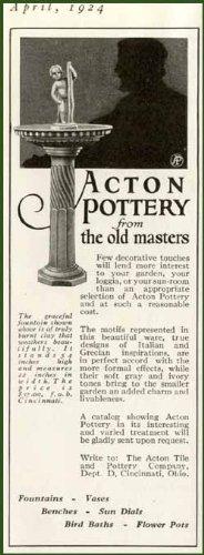 Cherub Fountain in 1924 Acton Pottery CO. of Ohio AD Original Paper Ephemera Authentic Vintage Print Magazine Ad/Article