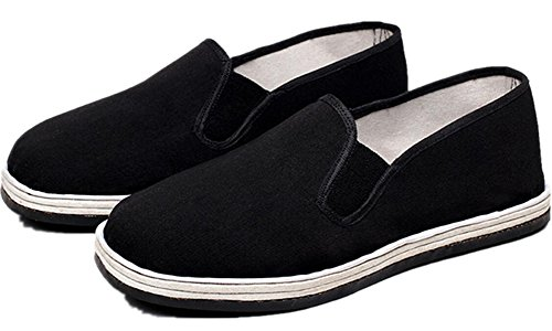 Kung Fu Shoes,SATUKI Chinese Traditional Tai Chi Rubber Sole Shoes Black (6)