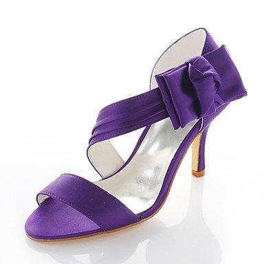Vestido La De Boda Toe Violeta 3 3 amp;Amp; La Por Boda 3A Sandalias De Mujer 4 Pulg Zapatos Noche Fiesta Round Púrpura Purple Tacones ww6Hr8
