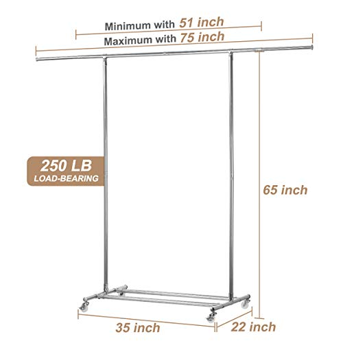 KINGSO Clothing Garment Rack with Wheels Heavy Duty Clothes Rolling Rack Commercial Grade Collapsible Clothing Rack Expandable Hanging Rod & Adjustable Bars Total Load Capacity 250LB Chrome