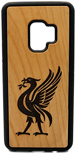 (CHS9P) A Cormorant or Liver Bird tribute to Liverpool Custom Engraved On A Cherry Wood Phone Case With Flexible TPU Sides For Galaxy S9 Plus (CHS9P-LIVERPOOL)