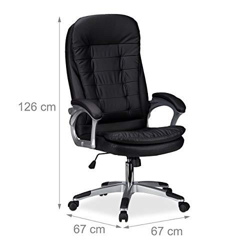Relaxdays kontorsskrivbordsstol, höjdjusterbar svängbar stol, bekväm, 120 kg kapacitet, HWD: 126 x 67 cm, svart
