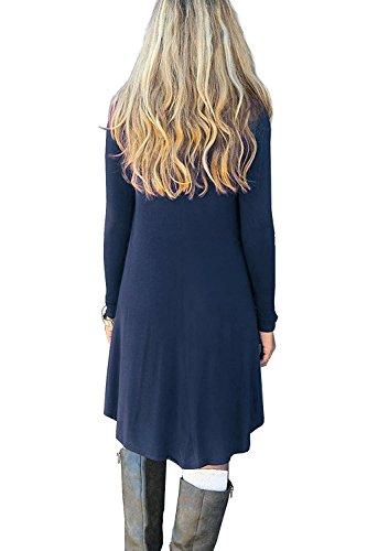 MRstriver Women's Casual Swing Flowy Plain Simple Cotton T-shirt Loose Dress Navy BlueX-Large -