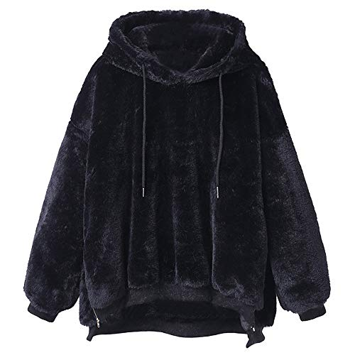 (Realdo Womens Pullover Outwear Coat, Clearance Sale Women Fashion Solid Pluffy Fleece Comfy Warm Sweatshirt (Medium,Black))