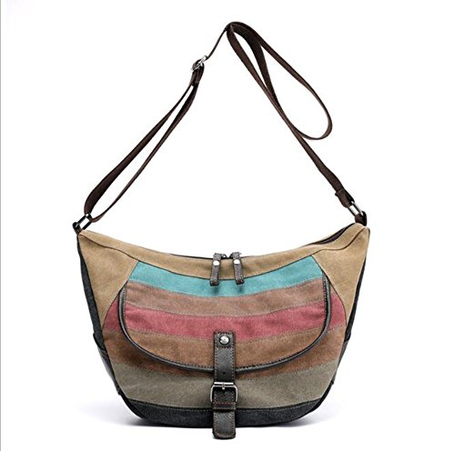 Waterproof Diagonal Package Canvas Handbag Splicing LXYIUN Women's Shoulder Bag 4BqRW8