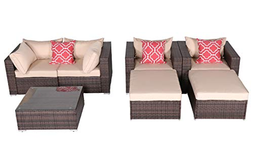 Cheap HTTH 7 Piece Patio Conversation Set, Outdoor PE Wicker Furniture Patio Sectional Furniture Sofa Set with Light Brown Seat and Back Cushions, Steel Frame, Mix Brown –Include 2 x Pillows (HT-MIX-7sofa)