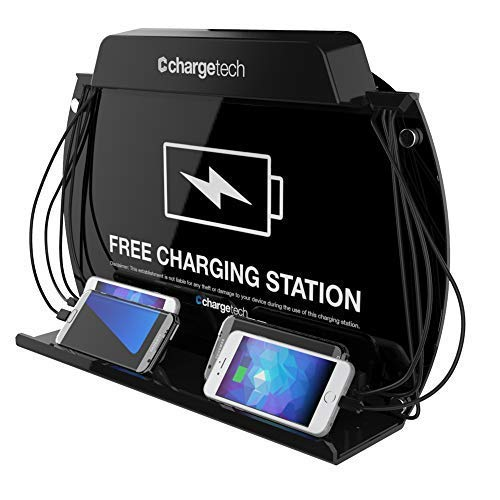 ChargeTech Wall Mounted Cell Phone Charging Station Dock Hub - Charging Station w/ 8 High Speed Cables Compatible with All Devices: iPhone, Samsung, Android, Tablets (Model: WM9)