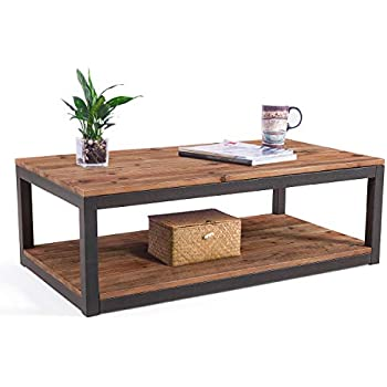 Awesome Care Royal Vintage Industrial Farmhouse 43 3 Inches Coffee Table With Storage Shelf For Living Room Accent Cocktail Table Natural Solid Reclaimed Machost Co Dining Chair Design Ideas Machostcouk