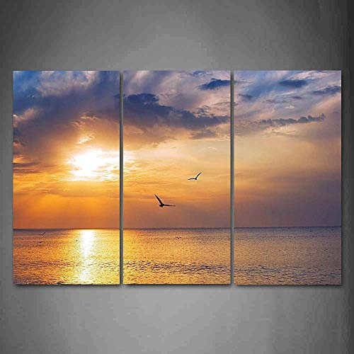 3 Piece Canvas Print,Contemporary Art,Modern Wall Decor,Warm Tropical Sunset on Sands of Kaanapali Beach in Maui Hawaii Destination for Travel,Giclee Artwork,Print on Canvas Sea view The Picture