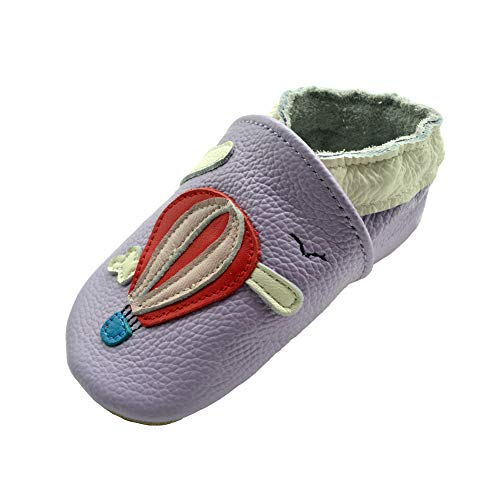 (iEvolve Baby Leather Shoes Soft First Walker Shoes Crib Shoes Moccasins for Toddlers(Purple Balloon, 0-6 Months))