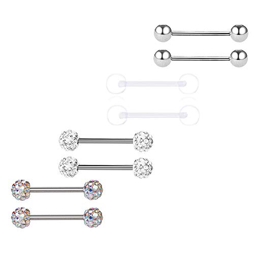 BODYA Tongue Rings 316L Surgical Steel CZ Body Piercing Barbell Ring, 14G 4 Pairs 16mm/19mm in Length (Silver, 19) 19mm Steel Tongue Barbell