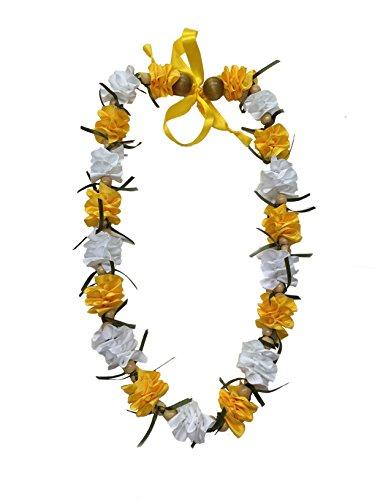 Hawaiian Ribbon Lei, White and Gold-Ilima 32 Inch by Hawaii UWT