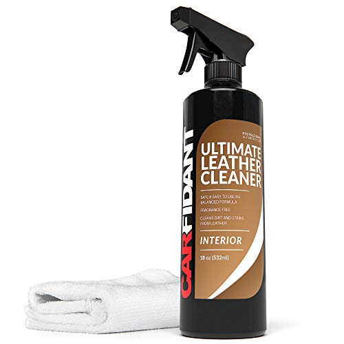 Carfidant Ultimate Leather Cleaner - Full Leather & Vinyl Cleaning Kit with Microfiber Towel for Leather & Vinyl Seats, Automotive Interiors, Car Dashboards, Sofas & Purses! - 18oz Kit