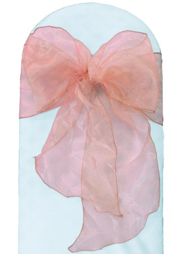 LA Linen 8 by 108-Inch Mirror Organza Chair Sashes / Pack of 100 / Light Pink. by LA Linen