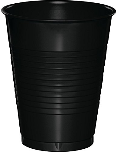 Creative Converting 28134081 Touch of Color Premium Plastic Cups Party Supplies, 16oz, Black