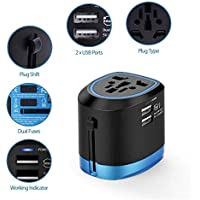 International Travel Adapter, Power Plug Universal All-in-one Adapter W/Smart High Speed 2.5A Dual USB Charging Ports, Worldwide AC Outlet Plugs Adapters for Europe, UK, US, AU, Asia Covers 150+Countries. (Blue x Black ) By Cloudin