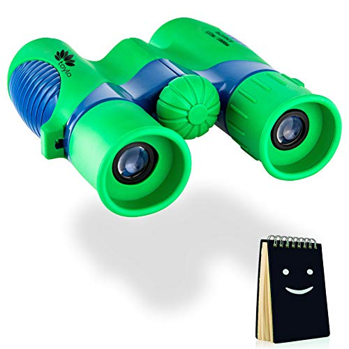 Real Kids Binoculars - Compact, Shockproof 8 x 21 Resolution for Boys and Girls Educational Bird Watching and Outdoor Activities Toy. Birthday peresnt. Bonus: Cute Notebook.