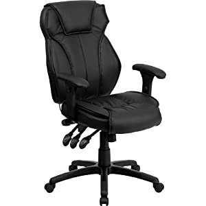 Flash Furniture High Back Black Leather