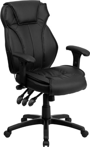 Flash Furniture High Back Black Leather Multifunction Executive Swivel Chair with Lumbar Support Knob with Arms (Back Adjustable Leather)