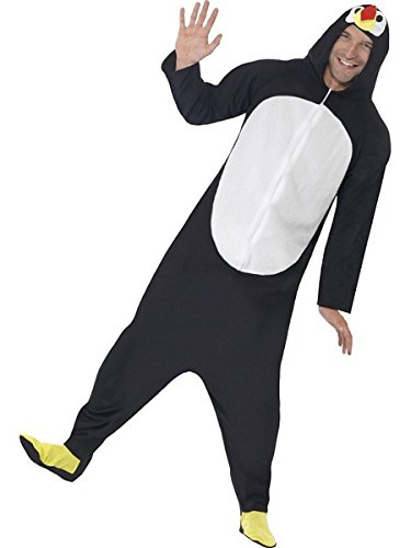 Smiffys Men's Penguin Costume, Hooded All in One, Party Animals, Serious Fun, Size L, Black/White