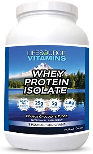 LifeSource Vitamins 3 lb – US Dairy Cows Grass Fed Whey Protein Isolate – Double Chocolate Fudge sweetened w Stevia – Free Priority Shipping