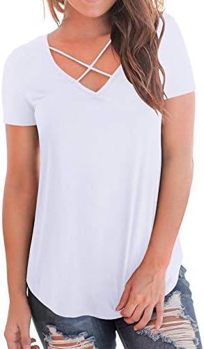 NIASHOT Women's Casual Short Sleeve Solid Criss Cross Front V-Neck T-Shirt Tops