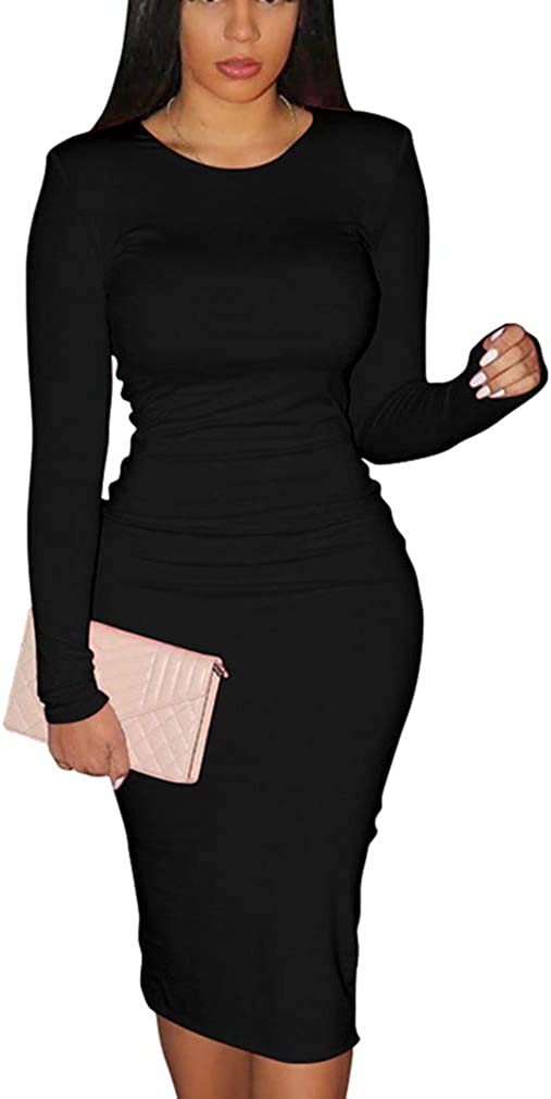 XXTAXN Women's Sexy Bodycon Long Sleeve Round Neck Work Office Maxi Pencil Dress