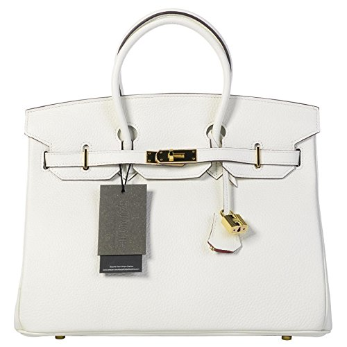 Qzunique Womens Cowhide Genuine Leather Fashion Zipper Buckle Belt Metalic Top Handle Bag White 35Cm