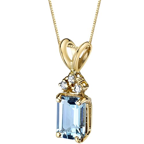 14 Karat Yellow Gold Emerald Cut 1.00 Carats Aquamarine Diamond Pendant