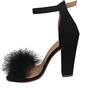 Women Sandals Daoroka Chunky Block High Heel Buckle Ankle Tie Up Fur Strap  Open Toe Elegant