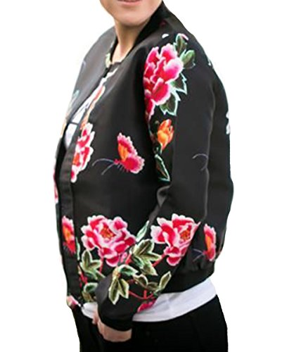 YILLEU Women Casual Long Sleeve Floral Print Stand Collar Lightweight Zip Up Top Bomber Jackets With Pockets (L, Big (Cotton Jean Jacket)