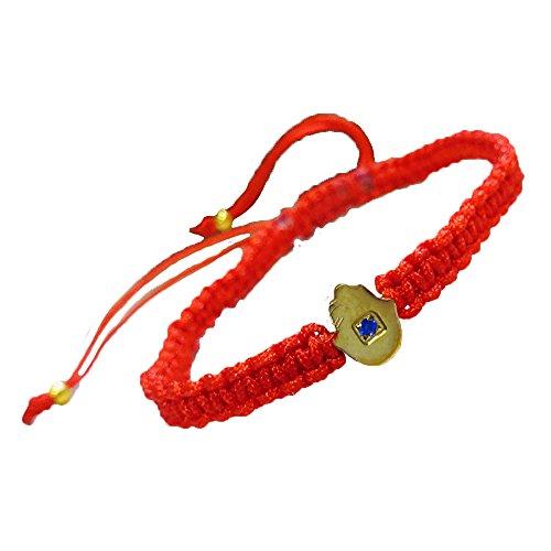 Gold Hamsa Pendant Red String Bracelet ()