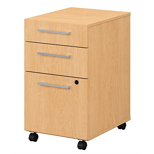 Bush Business Furniture 400 Series 3 Drawer Mobile File Cabinet in Natural Maple