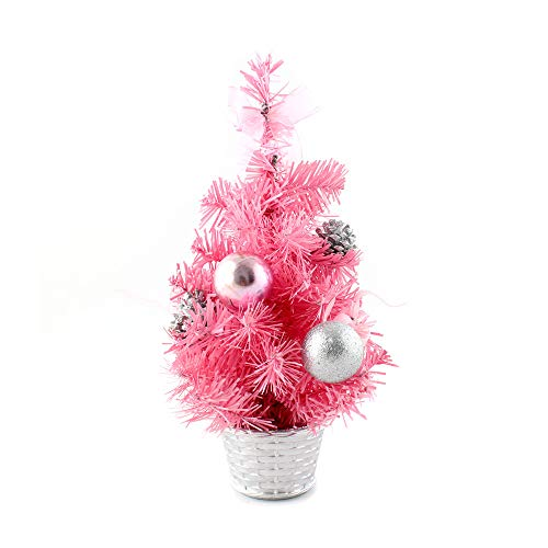Tabletop Christmas Tree, Inkach Mini Xmas Tree Pine Cones Ball Ornaments Display Stand Desk Tree Decorations Gifts (Pink)