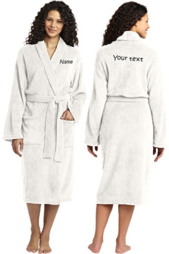 Personalized Plush Microfleece Robe with Embroidered Name & Back, Marshmallow, Small/Medium