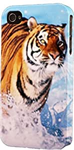 Tiger Running In Snow Dimensional Case Fits iPhone 4 or iPhone 4s