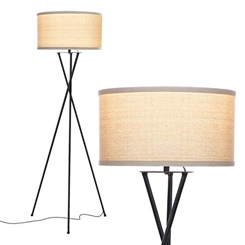 (Brightech Jaxon Tripod LED Floor Lamp – Mid Century Modern, Living Room Standing Light – Tall, Contemporary Drum Shade Lamp for Bedroom or Office – Black)