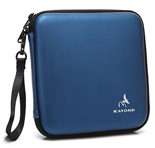 KAYOND Portable Hard Carrying Travel Storage Case for External USB, DVD, CD, Blu-ray Rewriter/Writer and Optical Drives (Blue) (Cd Carrying Cases)