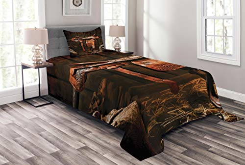 Bedspread Style Ranch (Lunarable Western Bedspread Set Twin Size, American West Traditional Authentic Style Rodeo Cowboy Saddle Wood Ranch Barn Image, Decorative Quilted 2 Piece Coverlet Set Pillow Sham, Dark Brown)