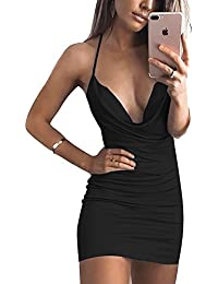 bf7f4437435e Women s Sexy Deep V-Neck Halter Backless Slit Mini Party Club Dress