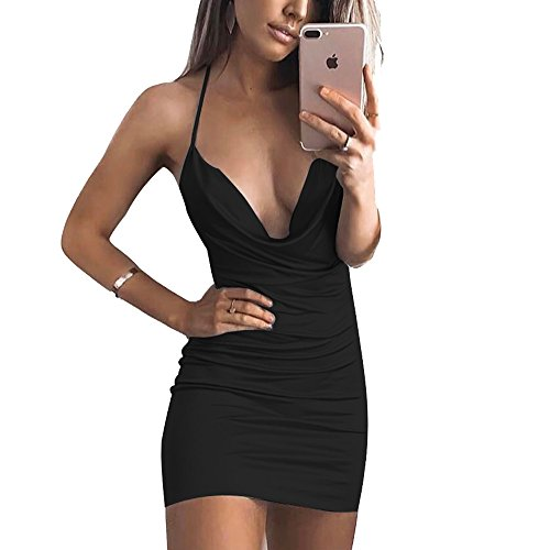 VANCOL Women's Sexy Deep V-Neck Halter Backless Slit Mini Party Club Dress (S, Black2) ()