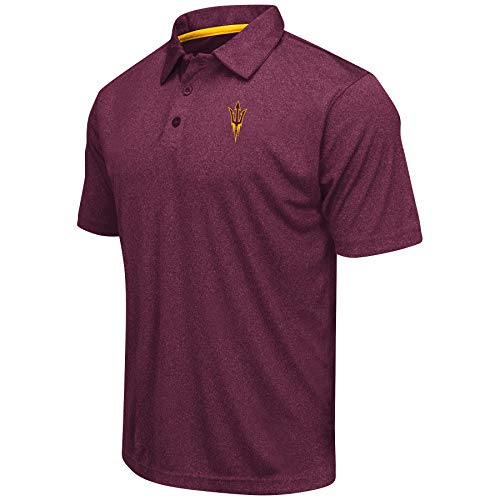 Colosseum Men's NCAA Heathered Trend-Setter Golf/Polo Shirt-Arizona State Sun Devils-Heathered Maroon-XXL