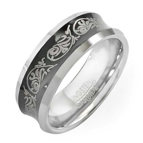 Tungsten Carbide Men's Ladies Unisex Ring Wedding Band 8MM (5/16 inch) Black Laser Engraved Tribal Design Comfort Fit (Available in Sizes 8 to 12) size 11